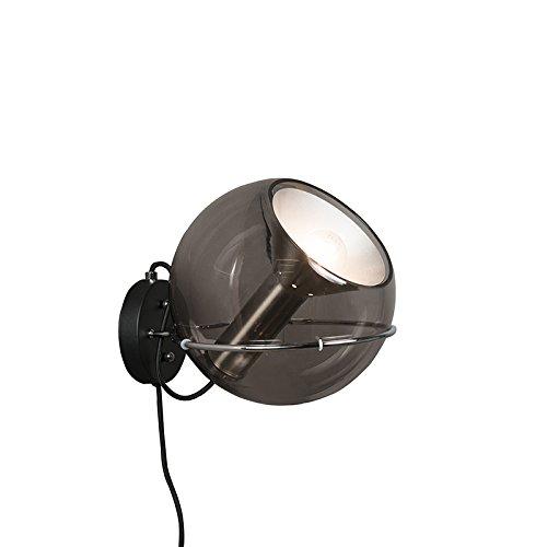 QAZQA Retro Wandleuchte Strike schwarz Innenbeleuchtung Wohnzimmerlampe Schlafzimmer Küche Glas Metall Rund LED geeignet E27 Max. 1 x 60 Watt