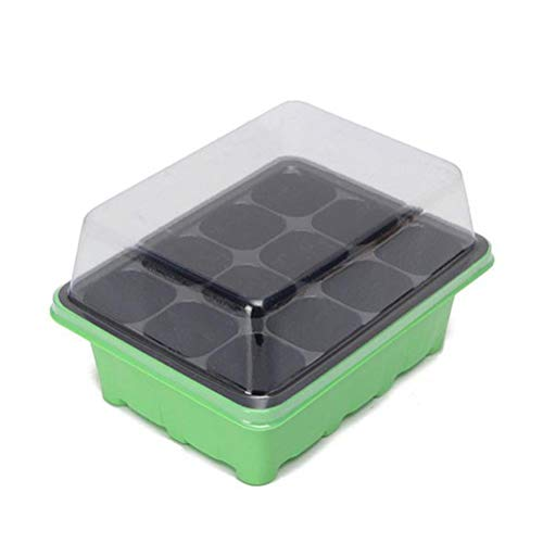 - WarmShine 24 Cells Seedling Starter Trays Seed Starter Peat Pots Plant Flower Grow Starting Germination Kit Seeds Grow Box Case with Humidity Dome and Base, Green, 1PCS