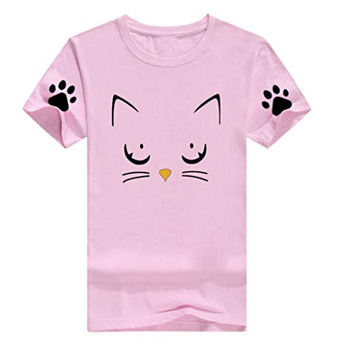 Womens Summer Short Sleeve Casual O-Neck Cute Cat Print Tops Tee Shirts Blouse by ASERTYL (Image #5)