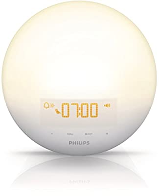 Philips Morning Wake-Up Light With Sunrise Simulation and Dusk Fading Night Light, White, HF3510