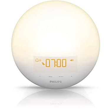 Philips  Morning Wake-Up Light With Sunrise Simulation and Dusk Fading Night Light, White, HF3510