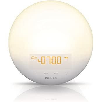 Philips Wake-Up Light with Sunrise Simulation alarm clock and Sunset Fading Night Light, White HF3510