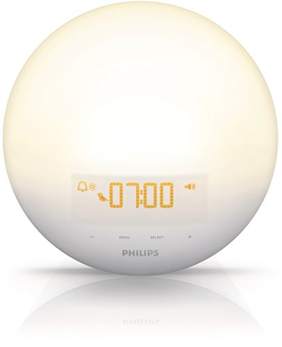 - Philips Wake-Up Light Alarm Clock with Sunrise Simulation and Sunset Fading Night Light, White (HF3510)