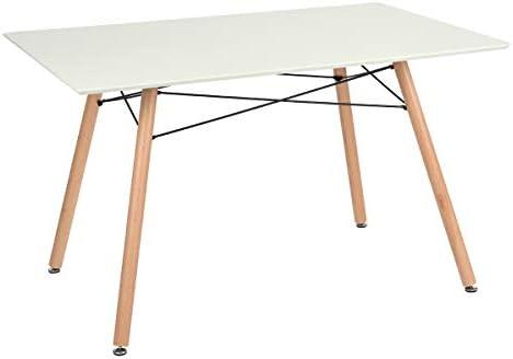 HOMY CASA White Dining Table Rectangular Top