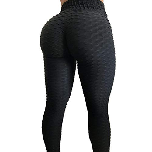 RIOJOY Yoga Pants for Women Fitness Compression Leggings High Waist Ruched Butt Gym Running Tummy Control Sportwear Tights ()