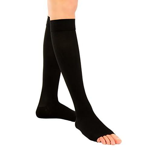 ®BeFit24 Mi-bas au genou de contention graduées à orteils ouverts (18-21 mmHg, 90 Denier, Classe 1) pour hommes et femmes – Meilleures chaussettes pour les vols et les voyages – Prévention