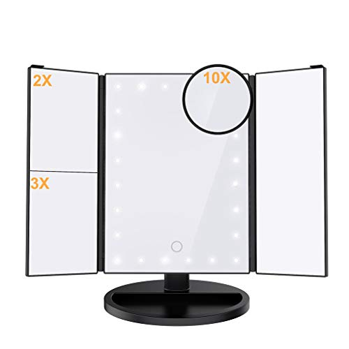Ultimate Lighted Makeup Vanity Mirror | Trifold Magnifying Beauty Mirror With 24 LED Lights | 180° Rotation & Adjustable Height | 2X/3X/10X Magnification | Dual Power Supply & Tray Shaped Base | Blac