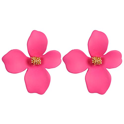 Boho Stud Earrings for Women - Chic Flower Statement Earrings with Gold Flower Bud, Great for Sister, Mom, Lover and Friends (Rose -