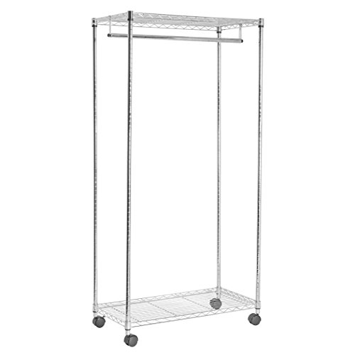 HomeCrate Strong Wheeled Garment Rack 70 Inch High, With Top