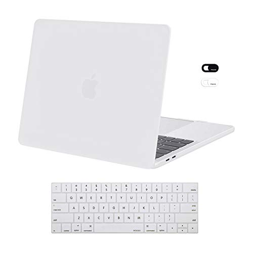 MOSISO Compatible with MacBook Pro 13 inch Case 2020 2019 2018 2017 2016 Release A2338 M1 A2289 A2251 A2159 A1989 A1706 A1708, Plastic Hard Shell Case&Keyboard Cover Skin&Webcam Cover, White