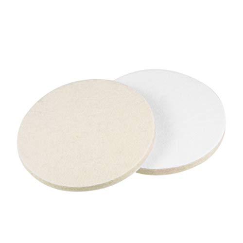 uxcell 5 inch Wool Felt Polishing Pad, Buffing Wheels Polish Pad Disc,Flocking Hook & Loop Back for Random Orbital Sander 2pcs