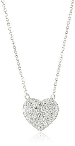 Pave Swarovski Necklace (Myia Passiello Hearts Sterling Silver and Swarovski Zirconia Heart Pendant Necklace, 16