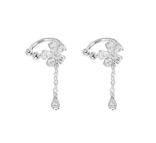 S925 Sterling Silver Non Piercing Ear Clip Earrings CZ Flower Dangle Cuff Earrings(1Paris)