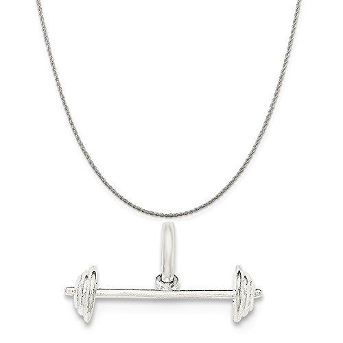 Sterling Silver Barbell Charm on a Sterling Silver - Barbell Necklace Sterling Silver