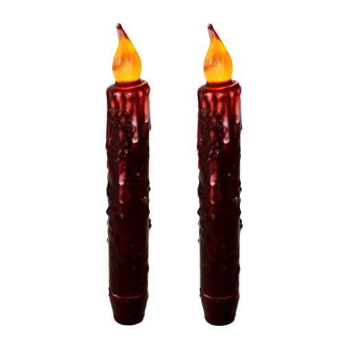 CVHOMEDECO. Real Wax Hand Dipped Battery Operated LED Timer Taper Candles Country Primitive Flameless Lights Décor, 6-3/4