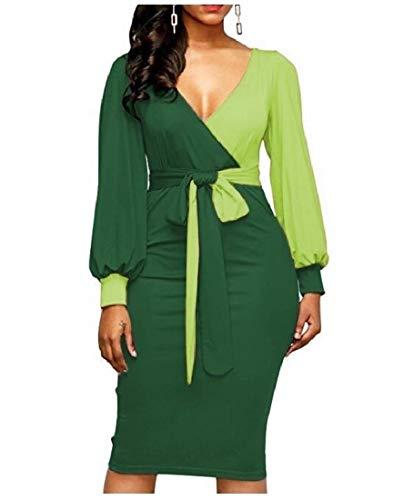 (Zimaes-Women Notch Collar Bodycon Spell Color Lantern Sleeve Mid Dress Fluorescent Green S)