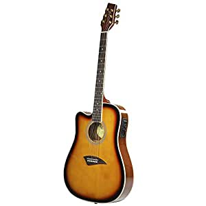 kona k2ltsb left handed acoustic electric dreadnought cutaway guitar in tobacco. Black Bedroom Furniture Sets. Home Design Ideas
