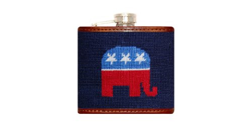 Smathers & Branson Republican Needlepoint Flask - Dark Navy (Flask-40) (Needlepoint Flask)