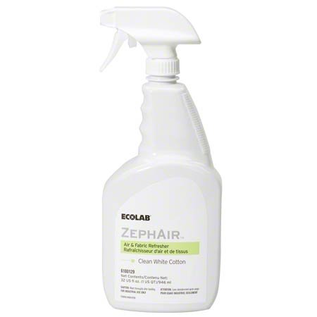 Ecolab 00129 ZephAir Clean White Cotton Air Freshener, Commercial-Grade Room Freshener, 32oz Spray (Each) by Ecolab