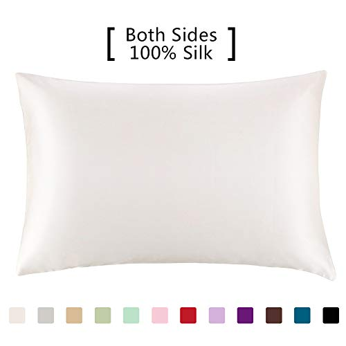 - YANIBEST Silk Pillowcase for Hair and Skin - 600 Thread Count 100% Mulberry Silk Bed Pillowcase with Hidden Zipper, Queen Size Pillow Cases Ivory Natural White Without Bleach