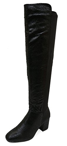 Ladies Black Tall Knee-High Zip-up Fur-Lined Low Heel Stretch Boots Shoes Sizes 3-8 iHEytEWE