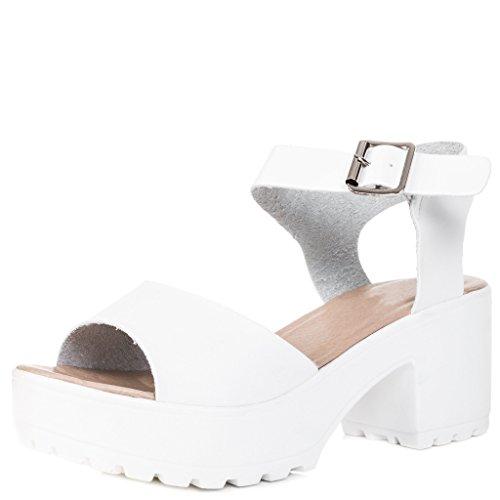Platform Block Heel Sandals Pumps Shoes White Leather Style Sz 8