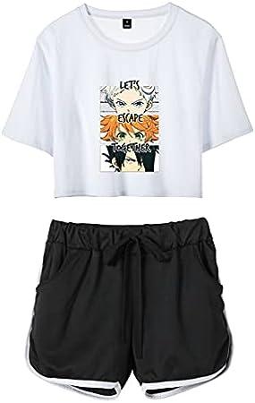 Keephen Traje de Camiseta y Pantalones Cortos The Promised Neverland Anime Emma Norman Ray Conjunto de Camiseta y Pantalones Cortos para Mujeres y niñas