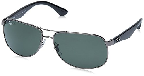 Ray-Ban Men's RB3502 Rectangular Metal Sunglasses, Gunmetal/Polarized Green, 61 mm