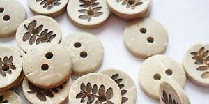 JumpingLight 20 Fern Leaf 2-Hole Coconut Shell Buttons 1/2