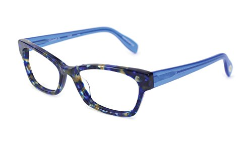 Elizabeth Street - Angular Trendy Fashion Reading Glasses for Men and Women - Indigo Blue Chop (+1.50 Magnification Power) (Reading Scojo Street Glasses)