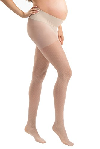 Blanqi Ultra Sheer Low Rise Belly Support Band Maternity Fishnet Printed Pantyhose - Nude - X-Large