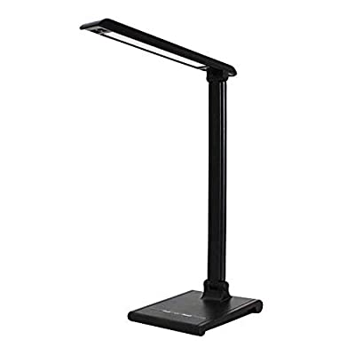 Z-SAN LED Table Lamp, Modern Rechargeable Smart Touch Stylish Metal Table Lamp, Foldable Home Office Lamp, Stepless Dimming, USB Charging Port, Memory Function Side Light