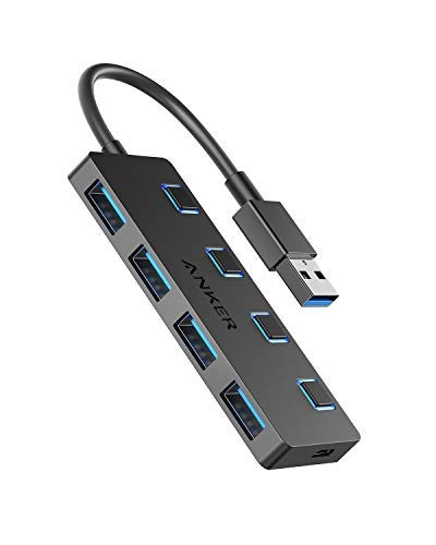 Anker 4-Port USB 3.0 Data Hub with Individual Switch for MacBook, Mac Pro/Mini, iMac, Surface Pro, XPS, Notebook PC, USB Flash Drives, Mobile HDD, and More