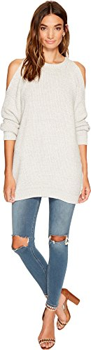 Bishop + Young Women's Cold Shoulder Tunic Sweater Grey Sweater