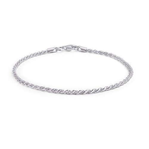 Simple Plain Rope Chain Anklet Ankle Bracelet For Women 925 Sterling Silver 50 Gauge Made In Italy 9-10 - Silver 9 Bracelet Ankle Inch