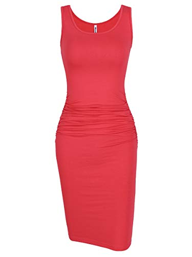 Missufe Women's Ruched Casual Knee Length Bodycon Sundress Basic Fitted Dress (Sleeveless Watermelon Red, X-Small) (Cotton Sheath)