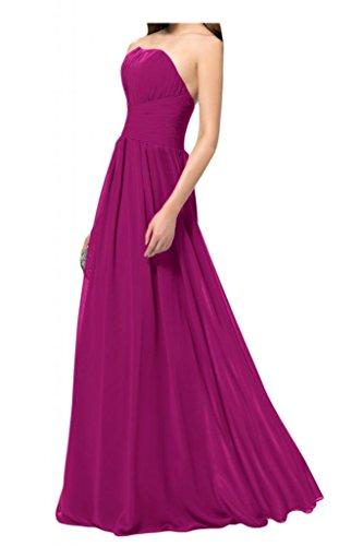 Por la noche de la novia de la Toscana fácil de hombro de la gasa por la noche sin moda largo vestido de fiesta vestidos de bola Prom vestidos fucsia