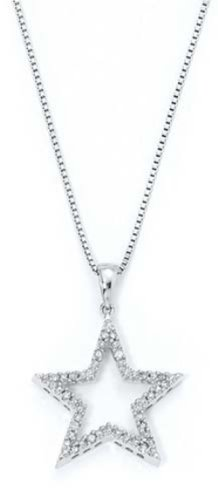 Sterling Silver Diamond Star Necklace (Necklace Diamond Sterling Star Silver)