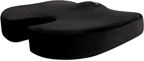 Cush Comfort Memory Foam Seat Cushion Non-Slip - Spinal Alignment Coccyx Chair Pads for Relief from Sitting Back Pain