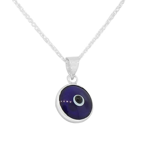 925 Sterling Silver Dark Blue Glass Evil Eye Pendant Necklace with Chain