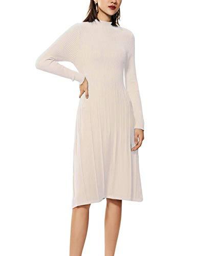 - FINCATI Off White Dress Women Cashmere Sweater Soft Elegant Vertical Striped Knee-Length Pulls Jersey (L, C-Beige)