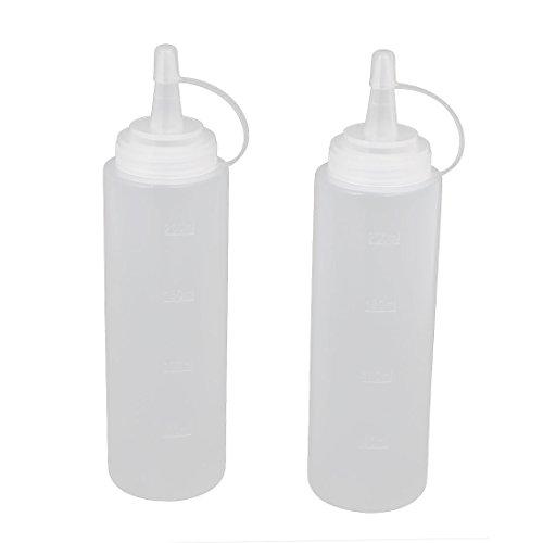 UXcell 2Pcs 200ml 8oz Clear Kitchen Plastic Squeeze Bottl...