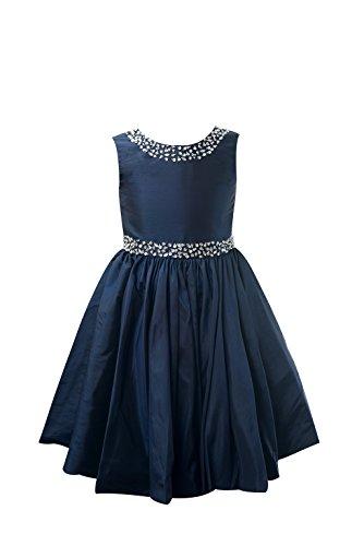 Miama Navy Blue Taffeta Wedding Flower Girl Dress Junior Bridesmaid (Navy Blue Taffeta Dress)