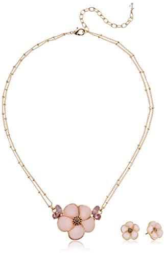 Napier Women's Gold/Pink 16 inch Flower Pendant Stud Earrings Set