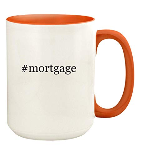 #mortgage - 15oz Hashtag Ceramic Colored Handle and Inside Coffee Mug Cup, Orange
