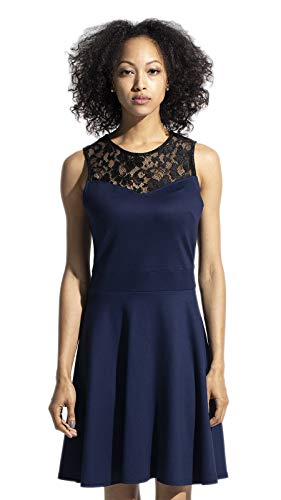 Floral Cocktail Party Dress - Sylvestidoso Women's A-Line Sleeveless Pleated Little Dark Navy Blue Cocktail Party Dress with Black Floral Lace (XXL, Navy)