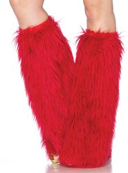 Leg Avenue - Furry Red Leg Warmers, Red, 0-S (Red Furry Leg Warmers)