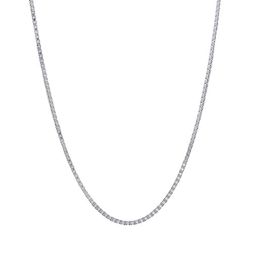 0.9mm Solid 925 Sterling Silver Box Chain Italian Crafted Necklace, 36