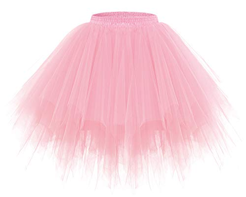 Bridesmay Women's Tutus Tulle Skirt 50s Vintage Petticoat Ballet Bubble Skirts Light Coral S -