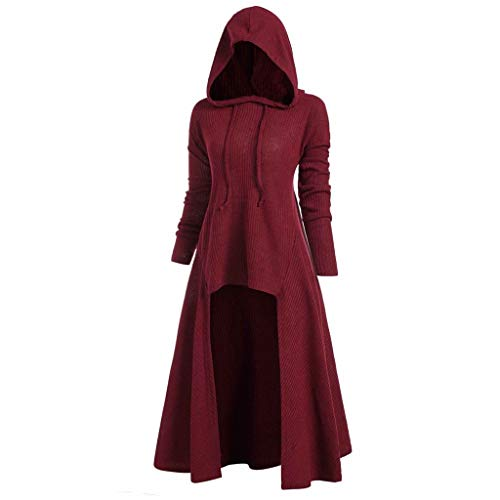 XILALU Women Casual High Low Dress,Plus Size Lace Up Loose Halloween Casual Long Sleeve Solid Hooded Costume (Red D, XXX-Large) ()